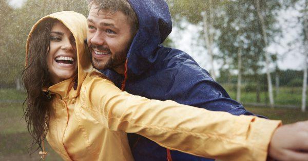 31963645 - romantic love in the pouring rain